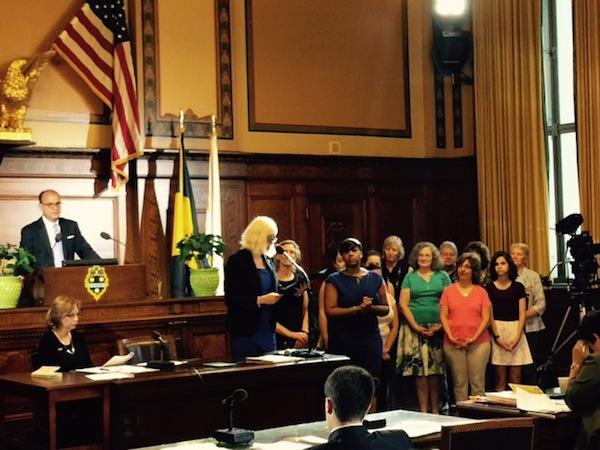City Councilwoman Natalia Rudiak reads a proclamation for PHLF's Building Pride, Building Character program.